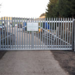 Sliding security gate with a galvanised finish in Pidley