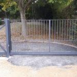 Sliding gate during installation in Burwell